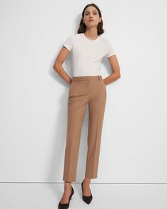 Treeca Pant in Good Wool Work Fashion, Fashion Outfits, Black Leather Pants, Professional Wear, Slim Pants, Work Pants, Women's Pants, Cropped Trousers, Work Attire