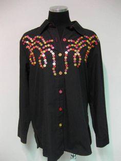 ButtonArtMuseum.com - BOB Mackie Wearable Art Black Blouse Shirt Artsy w Multi Buttons Small
