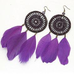 Purple Ethnic Feather Earrings. Feather Jewelry, Feather Earrings, Tribal Jewelry, Drop Earrings, Purple Accessories, Jewelry Accessories, All Things Purple, Modern Boho, Boho Fashion