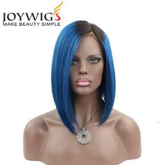 Find More Human Wigs Information about Factory Cheap Short Bob Wig Ombre Wig Virgin Brazilian Human Hair Wig 1B/Blue Ombre Lace Front Wigs,High Quality wig human hair,China wig hair spray Suppliers, Cheap wig anime from Jiaozhou Joywigs Hair Products Factory on Aliexpress.com