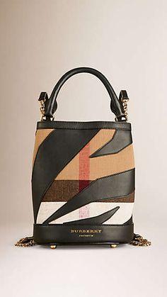 The Bucket Backpack in Canvas Check and Leather Secchiello e2383ce3bdd