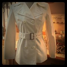 ✨HOST PICK ✨ madison & MAX belted coat ~ 5/16/16 Pre-loved  lightweight ~ belted ~ madison & MAX white coat ~ 2 tiny stains, on the belt (see last picture) not noticeable when tied ~ and tiniest yellowing from being freshly dry-cleaned ~ reflected by price! ☺️ just being honest  madison & MAX Jackets & Coats