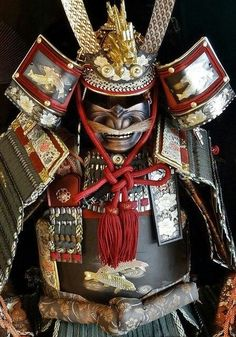 "Japanese Samurai Armor - 1 / This Ō-yoroi (大鎧?) [replica] is a prominent example of early Japanese armor worn by the samurai class of feudal Japan. The term Ō-yoroi means ""great armor Katana Samurai, Ronin Samurai, Samurai Helmet, Samurai Swords, Samurai Costume, Japanese Warrior, Japanese Sword, Kendo, Samourai Tattoo"