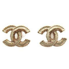 Chanel #11268 B14a Cc Beige Enamel Plated Gold Hardware Earrings ($450) ❤ liked on Polyvore featuring jewelry, earrings, earring jewelry, oval earrings and wrap earrings