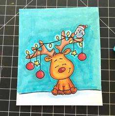 Gerda Steiner Designs  Rudolph having fun!  #cardmaking #papercraft #CuteAnimals #whimsical #stamping #crafting #scrapbooking #adultcoloring