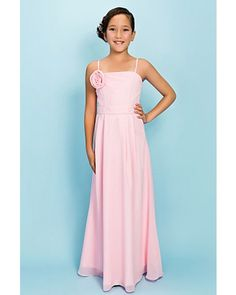 Blushing Pink Spaghetti Straps Floor-length Chiffon Long Junior Bridesmaid Dress | LynnBridal.com