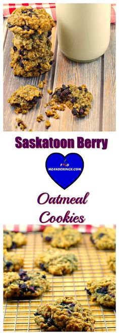 These soft oatmeal Saskatoon berry cookies (Juneberry cookies), with a nutty almond note, are perfect for any time of the year. A delicious Saskatoon berry recipe! Saskatoon Recipes, Saskatoon Berry Recipe, Benefits Of Organic Food, Canadian Food, Canadian Recipes, Oatmeal Cookies, Almond Cookies, Organic Recipes, Cookie Recipes
