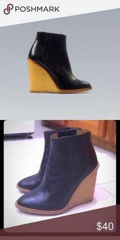 Zara Black booties with rubber wedge Cute wedge booties. Black leather and rubber wedge. Great condition, only used twice. Zara Shoes Ankle Boots & Booties