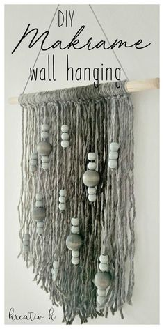 If you were looking for a DIY Makrame Wall Hanging then look no further! This beautiful wall hanging is easy to make and brings a warm vibe to your home. Macrame Wall Hanging Diy, Macrame Art, Macrame Projects, Wool Wall Hanging, Macrame Wall Hangings, Wall Hanging Crafts, Yarn Wall Art, Diy Wall Art, Wall Decor