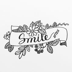 Smile @staedtlermars #smile #lettering #handlettering #font #calligraphy #floral Bullet Journal Banner, Bullet Journal Ideas Pages, Bullet Journal Inspiration, Banner Drawing, Wreath Drawing, Coloring Books, Coloring Pages, Floral Doodle, Floral Banners