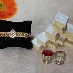 Send Golden rakhi with Kaju katli on reasonable price   #goldenrakhi  #silverrakhi  #designerrakhi  #maulirakhi