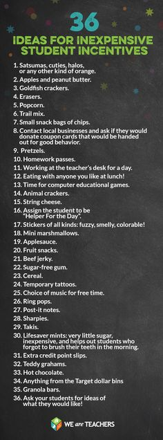 Love this list! So easy! 36 Incentives for students