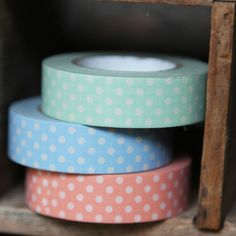 Stuck On You 3-piece Japanese Masking Tape In C $9.99 at shopruche.com. We're stuck on this unique set of masking tape in pastel green, orange and blue with little polka dot print. They add color to all of your crafts and scrapbooking as well as your everyday taping needs! Comes in a pack of 3.