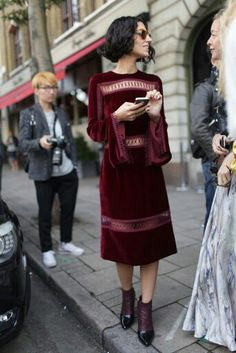 Burgandy velvet dress