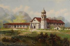"""""""Mission Santa Cruz"""" by Edwin Deakin. On Display at the Santa Barbara Archive Library. www.fineartconservationlab.com"""