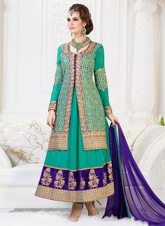Buy latest Georgette Layered Ankle Length Anarkali Suit online from the wide range of Salwar Kameez at Cbazaar.com, Green   Salwar Kameez is the new trend in the market. Shop online Designer Salwar Suits and get exciting deals on Indian salwar kameez. SLSLF4504