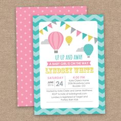 UP UP and Away Girl Baby Shower Invitation Hot by JessicasInvites