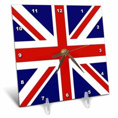 3dRose British Flag - red white blue Union Jack Great Britain United Kingdom UK England English souvenir GB, Desk Clock, 6 by 6-inch
