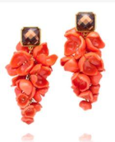beautiful orange floral drop earrings