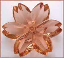 "Gorgeous ~OLD~ Antique Vintage Transparent Flower Shaped Glass Button! 1 & 1/16"""