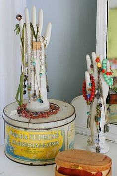 """""""cool DIY idea, fill rubber gloves with plaster of paris. could use this idea on other items perhaps."""" """"I like this idea of displaying your jewelry."""""""