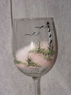 Lighthouse Hand Painted Wine Glasses by on Etsy Diy Wine Glasses, Decorated Wine Glasses, Hand Painted Wine Glasses, Wine Glass Crafts, Wine Bottle Crafts, Wine Bottles, Bottle Painting, Bottle Art, Wine Glass Designs