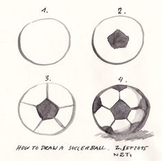 (Diary-Picture 100/365) »How to draw a soccer ball«. One of my current projects it to design signs. One sign is for a football ground. Therefore I had to illustrate soccer for the first time. © illustration by www.nontirakigle.de