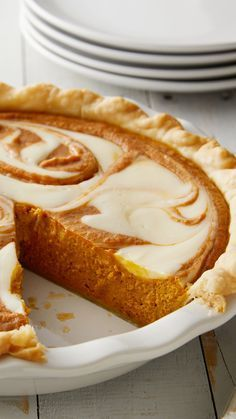 Take your pumpkin pie to the next level with a cream cheese swirl that tastes as good as it looks! If you've never made your own pumpkin pie, this recipe is the perfect place to start. Cinnamon, nutmeg, cloves and ginger give the pumpkin filling just the Cream Cheese Pie, Cheese Pies, Pumpkin Cream Cheeses, Pumpkin Recipes, Pie Recipes, Baking Recipes, Pumpkin Pie Cheesecake, Coffee Cheesecake, Köstliche Desserts