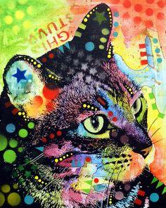 Cópia do gatinho que caracteriza o gato da fralda da pintura pelo decano Russo