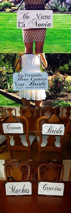 Other Wedding Supplies 3268: Ya Viene La Novia Here Comes The Bride Wedding Flower Girl Signs Spanish Photo -> BUY IT NOW ONLY: $39.95 on eBay!