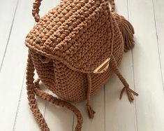 Items similar to Nude backpack Nude casual Backpack Knit Marshmelloy Rucksack Mini Backpack Cotton Rucksack Everyday backpack of Chunky Yarn on Etsy Crochet Rope, Chunky Crochet, Knitting Kits, Knitting Yarn, Knitting Projects, Crochet Backpack Pattern, Extreme Knitting, Handmade Clutch, Backpacks