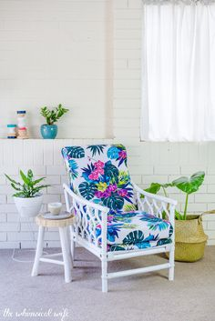 How To Revamp & Reupholster A Bamboo Cane Chair + Video — The Whimsical Wife Outdoor Patio Rooms, Outdoor Seating, Outdoor Chairs, Bamboo Furniture, Cane Furniture, Furniture Ads, Luxury Furniture, Modern Swivel Chair, Bamboo Canes
