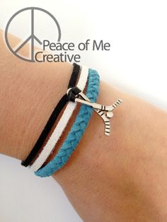 Layered Teal and Black San Jose Sharks Bracelet -