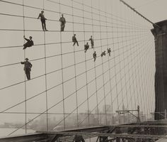 bridge painters dangling on the brooklyn bridge by eugene de salignac