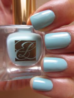 Estée Lauder Dilettanteis another new color from theEstée Lauder Spring 2013 Heavy Petals Collection. Dilettanteis a pretty and feminine, light aqua blue creme. It applied a little sheer and streaky in the beginning and I ended up using three coats here. The polish dries slightly darker than what it appears in the bottle.