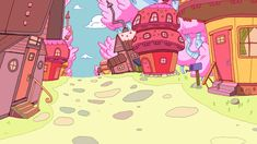Dan Bandit aka GHOSTSHRIMP created and designed the world for Adventure Time, here are the background designs forthe Candy Kingdom.