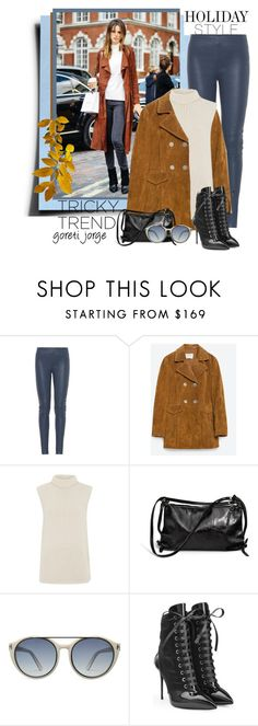 """""""Holiday Style: Leather Pants"""" by goreti ❤ liked on Polyvore featuring Balenciaga, Zara, Theory, Ina Kent, Tom Ford, Giuseppe Zanotti, women's clothing, women, female and woman"""