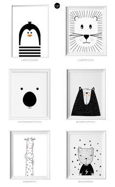 Black and white kids art from Etsy Schwarzweiss-Kinderkunst von Etsy Little flea interiors // kids homewear Nursery Room, Nursery Wall Art, Kids Bedroom, Baby Bedroom, Nursery Decor, Bedroom Decor, Baby Room Wall Decor, Bedroom Artwork, Baby Room Art
