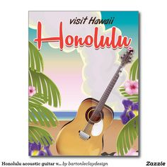 Honolulu acoustic guitar vintage travel poster. postcard