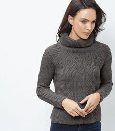 Blue Vanilla Grey Embellished Turtle Neck Jumper | New Look