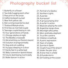 My photography bucket list