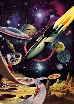 "Dedicated to all things ""geek retro:"" the science fiction/fantasy/horror fandom of the past including pin up art, novel covers, pulp magazines, and comics. Arte Sci Fi, Sci Fi Art, Trippy, Ufo, Perry Rhodan, Psy Art, Vintage Space, Futuristic Art, Science Fiction Art"