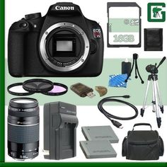 Canon EOS Rebel T5 Digital SLR Camera and Canon 75-300mm III USM Lens + 16GB Green's Camera Package 2
