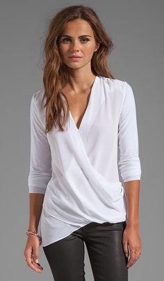 23a7ca003 Road Not Taken Wrap Top in White Blusas Para Amamentar, Blusa De Manga  Curta,