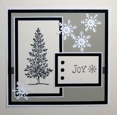 handmade card: Snowflake Joy by beadfreak22 ... black, white, gray ... glittered tree image ... diecut snowflackes with pearls ... Stampin' Up!