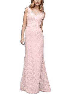 DescriptionWtoo by Watters Style192Full length bridesmaid dressV-neckline andback with illusion laceLong column skirtAmour Lace