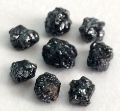 6 Pcs Black Diamonds Black Rough Diamond Natural by gemsforjewels