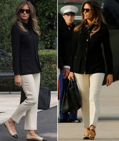 Melania Trump leaving for visit to Fla. in Chanel flats to see Hurricane Irma disaster on 9/14/17.