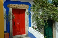 Love the mix of colours Almond Blossom, Vibrant Colors, Colours, Windows, Doorway, Portuguese, Decoration, Color Mixing, Stairs