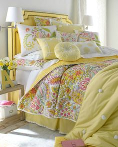 """Dena Home """"Sunbeam"""" Bed Linens - Horchow Not a fan of yellow, but love the quilt. Description from pinterest.com. I searched for this on bing.com/images"""